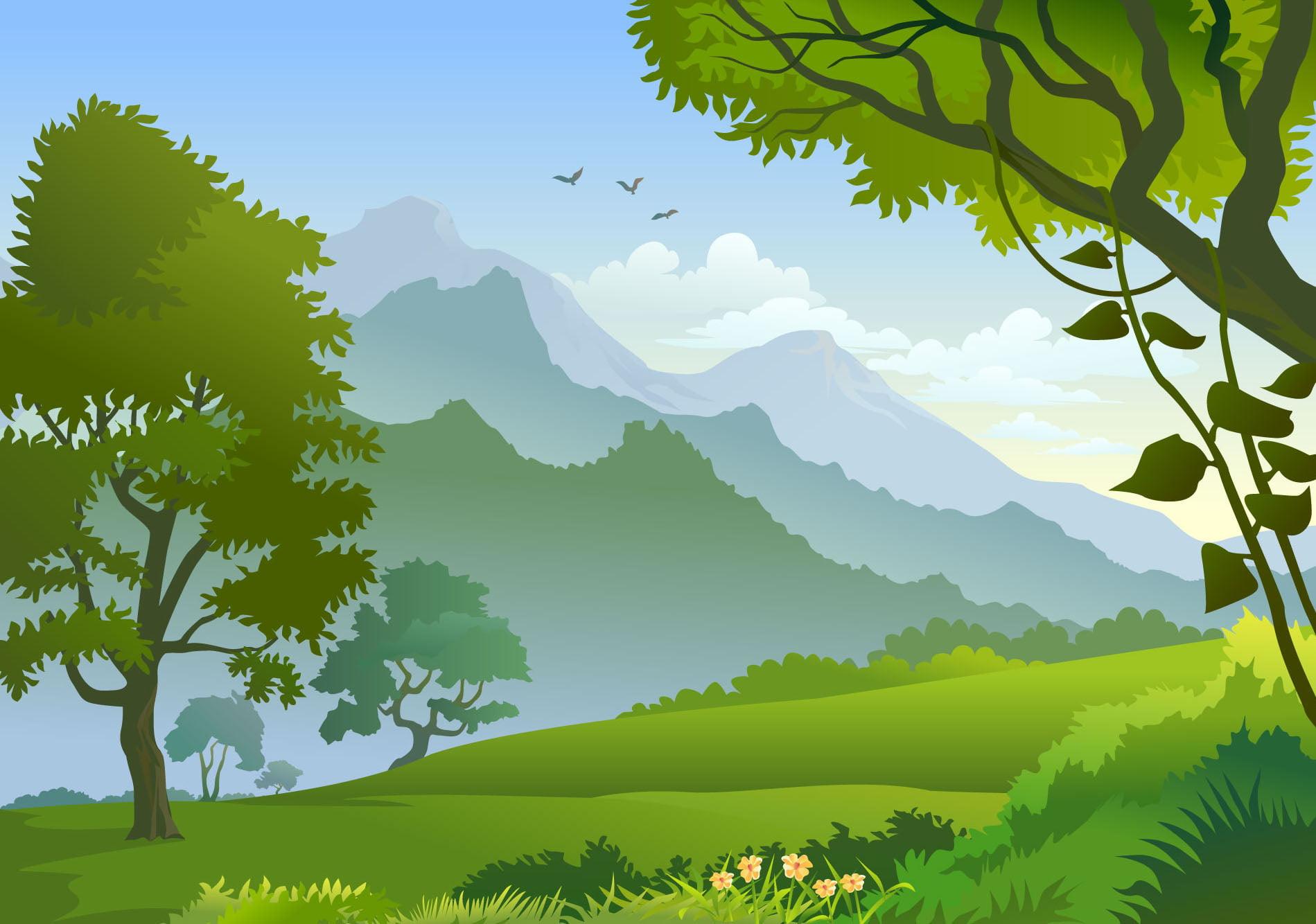 Farm Trees Background